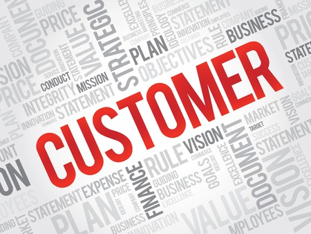 customer facing: CUSTOMER word cloud, business concept Illustration