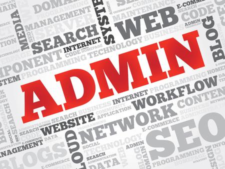 admin: ADMIN word cloud concept