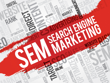 search engine optimized: SEM (Search Engine Marketing) word cloud business concept