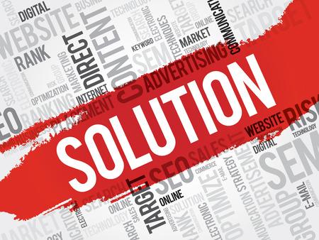 describes: SOLUTION word cloud, business concept Illustration