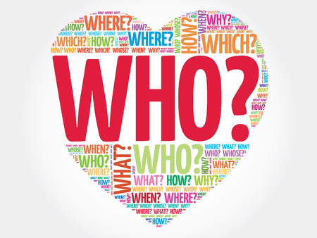 Who? Question heart, Questions words vector concept