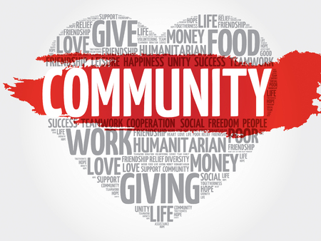 Community word cloud, heart concept