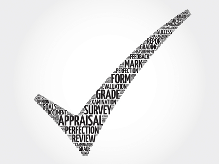 appraise: Appraisal check mark, vector business concept words cloud