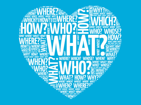Questions heart, Question words vector concept