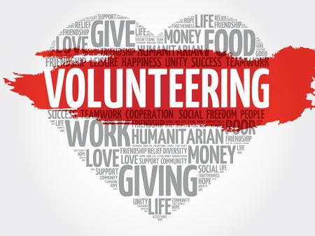 together voluntary: Volunteering word cloud, heart concept