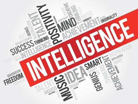 inteligent: Intelligence word cloud, business concept
