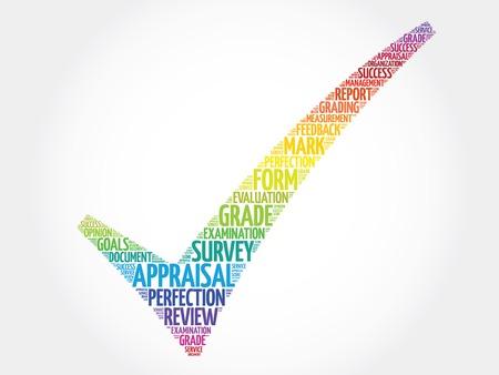 다채로운 감정의 체크 표시, 벡터 비즈니스 개념 단어 구름