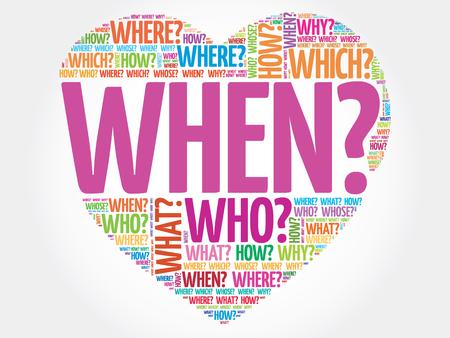 Wanneer? Vraag hart, Vragen woorden vector concept