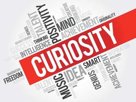 Curiosity word cloud, business concept Çizim