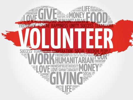 gönüllü: Volunteer word cloud, heart concept