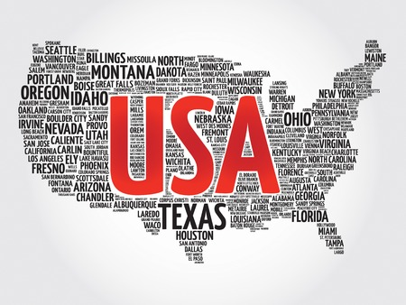 atlanta tourism: USA Map word cloud made with words cities names, vector collage