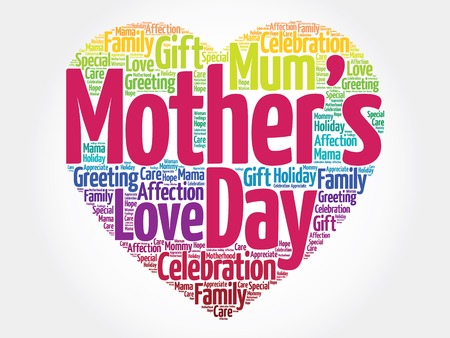 Mother's day heart word cloud 일러스트