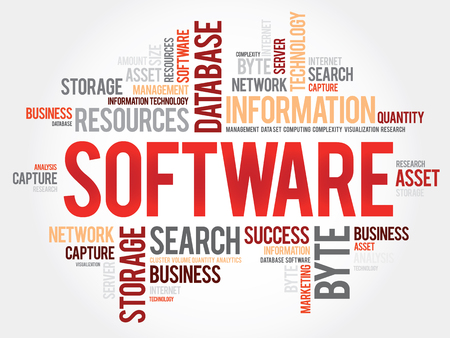assembler: Software word cloud, business concept Illustration