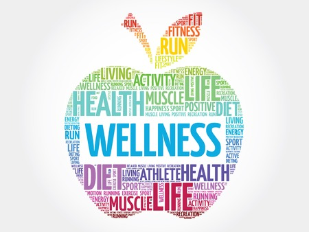 Wellness apple word cloud concept