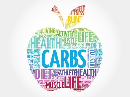 overeating: Colorful Carbs apple word cloud concept Illustration