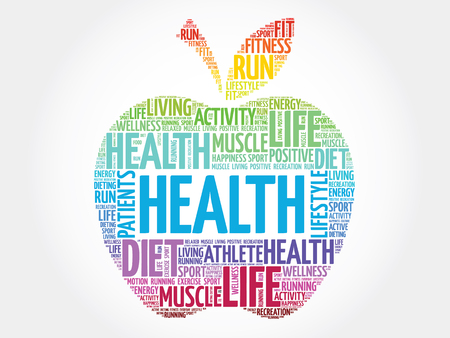 hospital expenses: Colorful Health apple word cloud concept Illustration