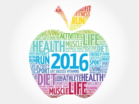 new years resolution: Colorful 2016 apple word cloud concept