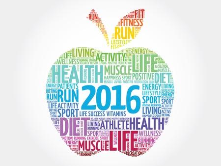 Kleurrijke 2016 appel woord wolk concept
