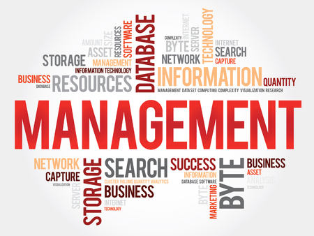 managing: Management word cloud, business concept Illustration