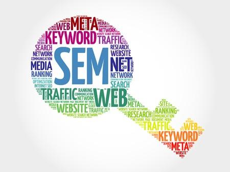 representations: SEM - Search Engine Marketing Key word cloud, business concept Illustration