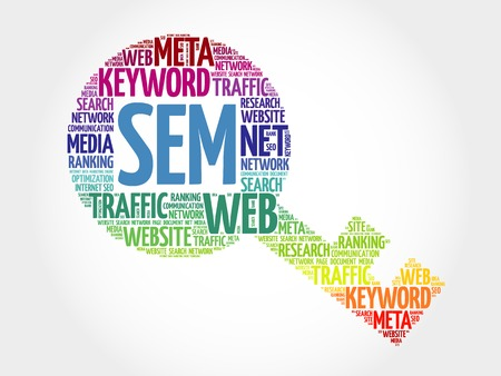SEM - Search Engine Marketing Key word cloud, business concept Illustration