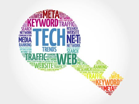 trends: Tech Trends Key word cloud, business concept Illustration