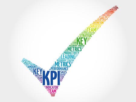 KPI - Key Performance Indicator check mark, vector business concept words cloud 일러스트
