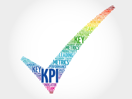 KPI - Key Performance Indicator check mark, vector business concept words cloud Çizim