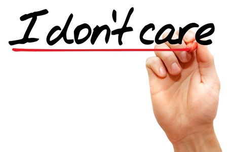 don't care: Hand writing I dont care with marker, business concept Stock Photo