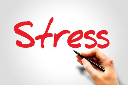 hand writing: Hand writing Stress, business concept Stock Photo
