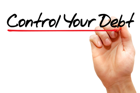 creditors: Hand writing Control Your Debt with marker, business concept Archivio Fotografico