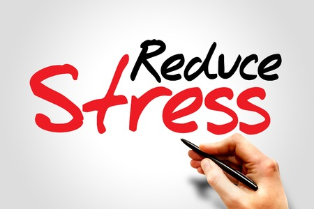 reduce: Hand writing Reduce Stress, concept