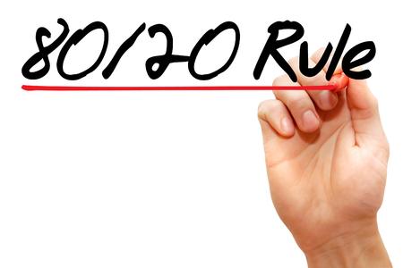 Hand schrijven 80 20 Regel met marker, business concept
