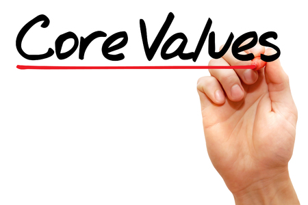 core strategy: Hand writing Core Values with marker, business concept
