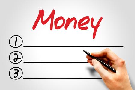 obligee: MONEY blank list, business concept