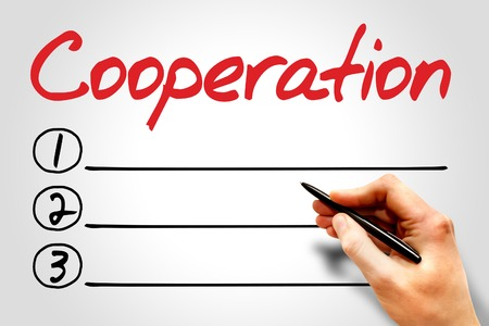 forced: COOPERATION blank list, business concept