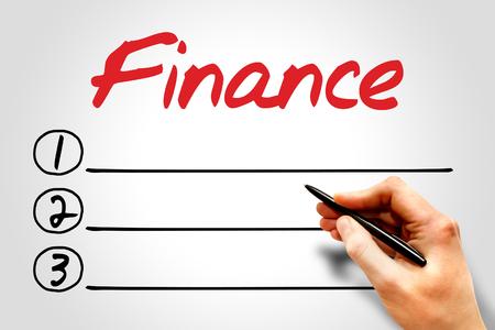 interst: FINANCE blank list, business concept