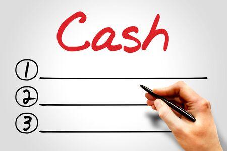 cash flow statement: CASH blank list, business concept