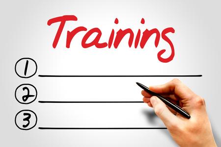 TRAINING blank list, education concept
