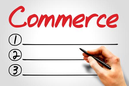 commerce: COMMERCE blank list, business concept Stock Photo