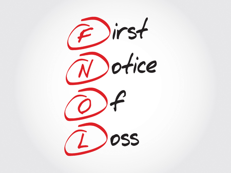 foreclosed: FNOL - First Notice Of Loss, acronym business concept