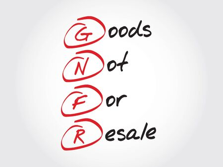 GNFR - Goods Not For Resale, acronym business concept
