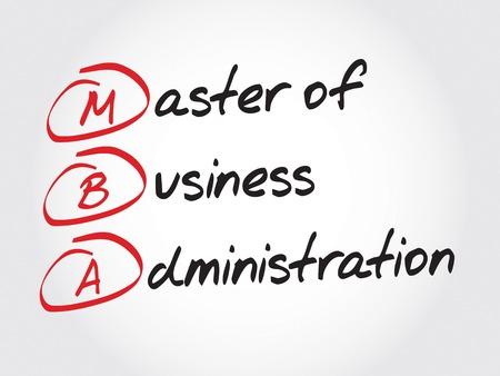 administracion empresarial: MBA - Master of Business Administration, concepto de negocio acr�nimo Vectores