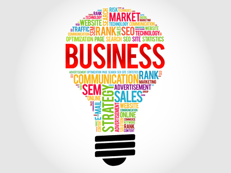 sales executive: BUSINESS bulb word cloud, business concept Illustration