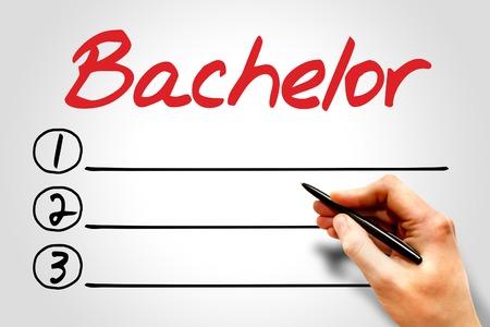 extramural: Bachelor blank list, education concept