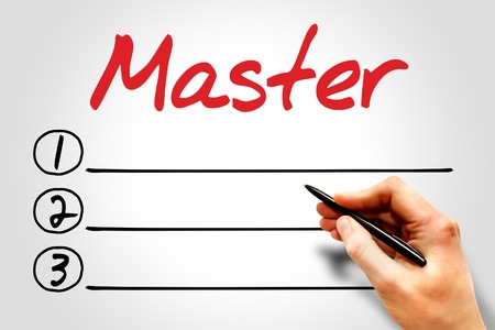 master degree: MASTER blank list, education concept