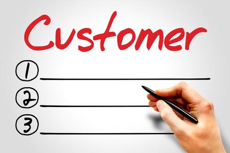 customer facing: Customer blank list, business concept