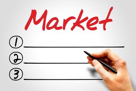 decoding: Market blank list, business concept Stock Photo
