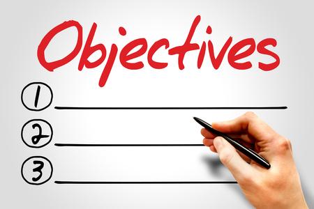 relationsip: Objectives blank list, business concept