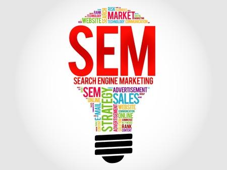 keywords advertise: SEM (Search Engine Marketing) bulb word cloud, business concept Illustration